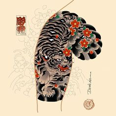 Tiger Tattoo Sleeve, Disney Sleeve Tattoos, Tattoo Sleeve Designs, Dragon Sleeve Tattoos, Japanese Tiger Tattoo, Japanese Tattoo Designs, Japanese Sleeve Tattoos, Chest Tattoo, Arm Tattoo