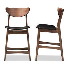71200f93402f Baxton Studio Latina Black Faux Leather and Medium Brown Wood 2-Piece Counter  Stool Set