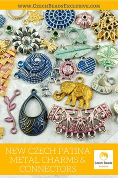New Czech Patina Metal Charms and Connectors  Plenty of Colors & Designs! - Buy now with discount! www.CzechBeadsExclusive.com/+czech+patina  Hurry up - sold out very fast! SAVE them! #czechbeadsexclusive #czechbeads