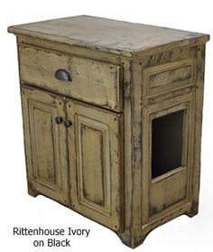 Rustic Litter Cabinet...this would be great if I could find something to put their litter box in for a little more privacy for them.
