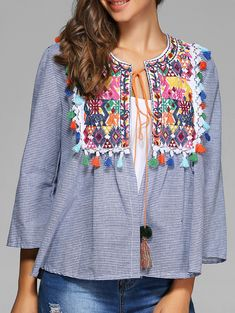 Striped Colorful Embroidery Tie Blouse in Stripe | Sammydress.com