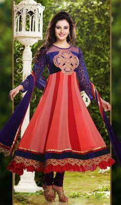 Pink and Red Shaded Georgette Anarkali Suit Price: Usa Dollar $126, British UK Pound £74, Euro93, Canada CA$135 , Indian Rs6804.