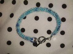 Hand Knit Blue, White, and Purple I-Cord Bracelet