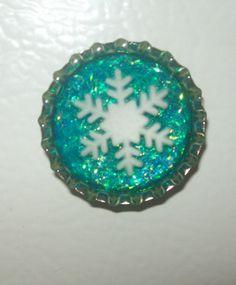 Snowflake Bottle Cap Resin Magnet by UniqueGlitterPolish on Etsy, $1.60