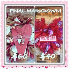 www.facebook.com/amberfostercreativity Final Markdown on Valentine's Day Wreaths!