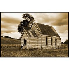 TrekLens | Old Abandoned Church in Sepia Photo found on Polyvore