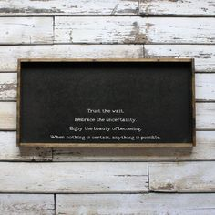 Trust The Wait | Wood Sign farmhouse signs, rustic signs, fixer upper style, home decor, rustic decor, inspiring quotes, wood sign sayings, magnolia market, rustic signs, boho, boho style, eclectic living, living room inspiration, gallery wall decor, gallery wall signs
