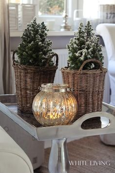 ♡ tabletop christmas trees in baskets and a mercury glass lantern | winter warmth