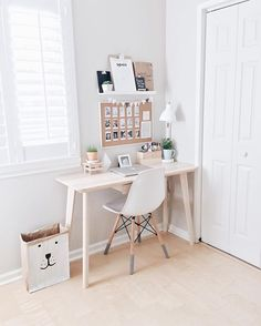 "Workspace Goals  on Instagram: ""Pastel #workspacegoals + regram from @polagram in the USA ☁️☁️ This workspace belongs to Sarah, a photography lover in California ✌️✌✌ So many great ideas here for how to create a beautiful workspace in a spare corner of your home  We love the details... the grey ""feet"" of the Eames chair, the little wooden plant stand + the pinboard with polaroids ✨✨ Thanks Sarah for the tag + for letting us peek into your lovely workspace corner """