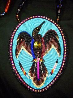 "Items similar to beaded ""raised relief"" Anhinga or ""waterbird"" medallion on Etsy Indian Beadwork, Native Beadwork, Native American Beadwork, Powwow Beadwork, Peyote Patterns, Loom Patterns, Beading Patterns, Beading Projects, Beading Tutorials"