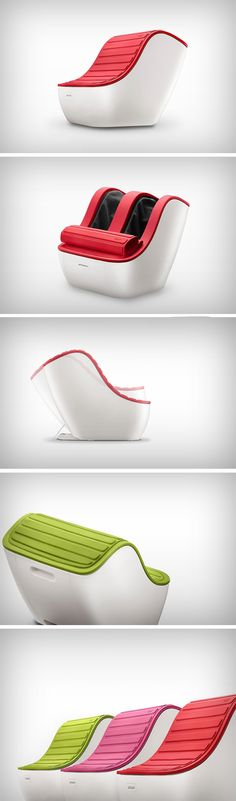 Without a sense of scale, you probably wouldn't be able to tell the Nest foot massager apart from a chair. That's pretty much a positive for the Nest, since its aesthetic complements the inside of a salon or a spa, with its curves and colors. Sitting atop the Nest is its foldable cover that is sure to remind you of Apple's iPad cases and the way they fold open and closed. Its presence helps bring a contemporary/modern touch to the massager.