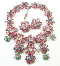 Roger JEAN PIERRE, Marked MADE IN FRANCE, Pink, Blue & Clear Crystal from sharons-sparkles on Ruby Lane
