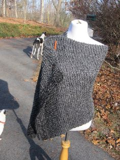 Charcoal Handmade Wrap Knit Prayer Shawl in Grey Black with Pocket  or not