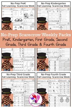 Scarecrow No-Prep Weekly Packs PreK, Kindergarten, First Grade, Second Grade, Third Grade & Fourth Grade with 5 days of activities to do for each grade level With loads of general scarecrow activities - You will find a mix of math, language, and more - These are easy to use packs for fall learning, homework, early finisher, and morning work. Easy no-prep printables for kids with four pages for each day - 3Dinosaurs.com #3dinosaurs #scarecrow Sixth Grade, First Grade, Second Grade, Cursive Words, Math Words, Monster Activities, Tens And Ones, Math Word Problems, Printable Activities For Kids
