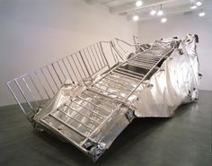 Martin Kippenberger, Transportable Subway Entrance (Crushed), 1997, installed at Metro Pictures in NY