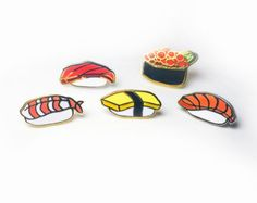 Ikura Fish Roe Sushi Enamel Pin by Wawawawa on Etsy