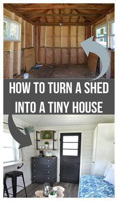 Turning a shed into a tiny house is a great way to save time & money on your tiny house build. Tiny Guest House, Backyard Guest Houses, Shed To Tiny House, Tiny House Loft, Building A Tiny House, Tiny House Living, Tiny House Plans, Tiny House Design, House Floor Plans