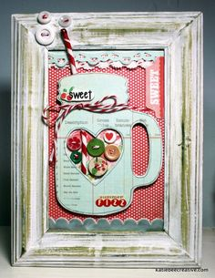 Chipboard Mason Jar with dollar store painted frame (vintage candy cane cut to make the straw) by Katie Watson