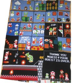 Crochet Mario blanket. The women who made this is super talented and worked over a year on it. gegecrochet.blogspot.com