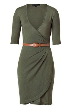 ralph lauren collection firtree green cashmere wrap dress