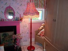 Red Painted Standard Lamp Cath Kidston Fabric Covered Lampshade Shabby Chic | eBay