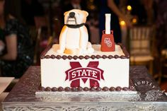 Mississippi State themed groom's cake  Kristin and Woody   Wedding Reception at City Club Fort Worth Lightly Photography