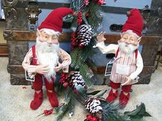"Set 2 Large 20"" Santa Elves Candy Cane Jingle Bells Christmas Figurine Dolls | eBay"