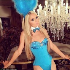 The other bunny: Paris Hilton donned the iconic Playboy bunny suit...