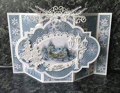 """Carte avec le gabarit dutch doobadoo """" Médaillon 2"""" Chrismas Cards, Christmas Card Crafts, Xmas Cards, Holiday Cards, Fancy Fold Cards, Folded Cards, 3d Cards, Cool Cards, Illustration Noel"""