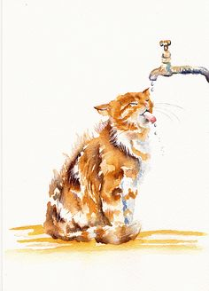 Cats Painting - The Old Garden Tap by Debra Hall Watercolor Animals, Watercolor Paintings, Cat Watercolour, Cat Sketch, Art Sites, Cat Drawing, Animal Paintings, Cat Art, Pet Portraits