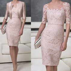 Vintage Scalloped Lace Sheer Neck Women Gowns Vestidos de Gala Lace Mother of the Bride Groom Dresses Belt Waist With Jacket Plus SIZE Knee Length Dresses, Short Dresses, Formal Dresses, Elegant Dresses, Beautiful Dresses, Mother Of The Bride Suits, Mother Bride, Bride Groom Dress, Bride Dresses