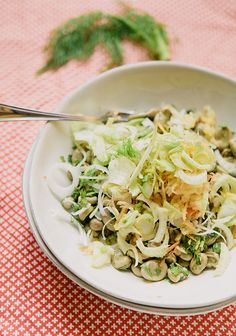 Fava bean and fennel spring salad