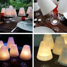 Haha, wine glass candle holders with mini lamp shades. Cute