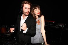 Pelayo Diaz and Natalia Ferviú DJing at the #EmporioArmaniSounds event in Madrid