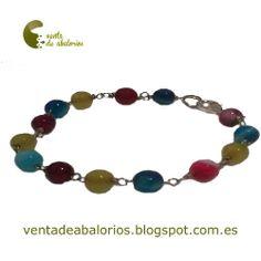 Pulsera de cadena con eslabones y piedras semipreciosas en una variedad de colores