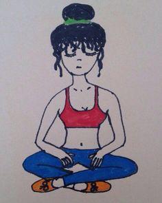 Breathe in & breathe out #yoga #meditation #doodle #doodling #scribble #lotus #faber #fabercastell #jumbi #red #green #blue #meditating #girl #art #artsy #artliner #fineliner #crop #top #tights #orange #shoes #drawing #fun #drawingisfun #coloryourlife #resim #cizim #renkm