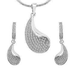 CZ Studded Brass Pendant, Earrings Set with Chain #gifts #mehandi #indiandance #silverjewellery #indiapokemongo