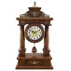 Countertop Table Clock Retro Table Clock Solid Wood Silent Clock Mantel Clock for Bedroom Living Room Clock it Applies to for Families Offices Ect, QiXian, Lion-White Living Room Clocks, Family Office, Retro Table, Mantel Clocks, Retro 4, Offices, Countertops, Solid Wood, Families