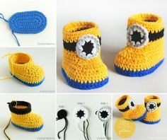 Minion Crochet Booties diy crochet craft crafts diy crafts do it yourself diy projects minion diy crochet ideas crochet projects diy and crafts minion crochet pattern Crochet Diy, Crochet Boots, Crochet Baby Booties, Crochet Slippers, Crochet For Kids, Crochet Crafts, Crochet Projects, Crochet Ideas, Diy Projects