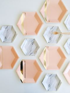 Marble Print + Blush Gold Party Paper Plates Goddess Collection by Harlow & Grey Gold Party, Gold Foil Paper, Decoration Inspiration, Blush And Gold, Peach Blush, Rose Gold, Black Gold, Party Plates, Party Tableware