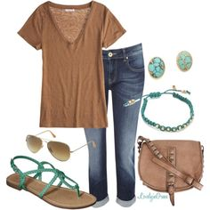 """""""Brown and Turquoise"""" by lovelyingreen on Polyvore"""
