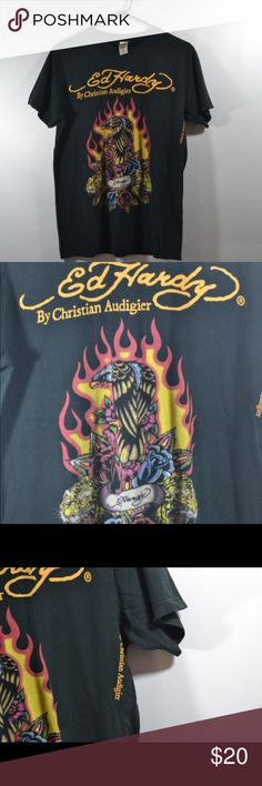 """Ed Hardy Medium T Shirt Ed Hardy Medium T Shirt. Shirt is faded and lightly distressed. Measured in inches while laid flat Chest:19.5"""",Length:26.5"""",Sleeve:7"""" Ed Hardy Tops Tees - Short Sleeve"""