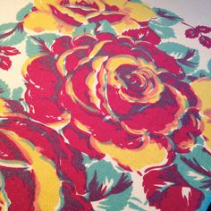 Gorgeous Vintage 1950s Larger Heavy Cotton Tablecloth – Sprays of Wine and Gold Roses with Teal Leaves by GrandmaPummysVintage on Etsy https://www.etsy.com/listing/222579488/gorgeous-vintage-1950s-larger-heavy