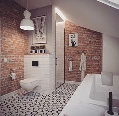 13 Tips to Make Your Bathroom Sparkle . Brick Bathroom, Bathroom Accent Wall, Loft Bathroom, Tiny Bathrooms, Amazing Bathrooms, Small Bathroom, Industrial Bathroom Design, Bathroom Interior Design, Brick Interior