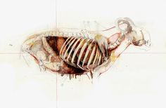 Title: Goat man pregnant / Uomo caprone gravido Dim: cm 50x70 Tecnique: mixed media on paper / tecnica mista su carta