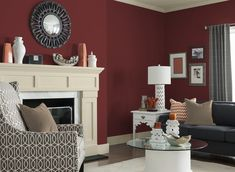 Experts Reveal the 9 Top Paint Colors for Fall. This rich red color will envelope your home in warmth, while adding a modern statement to any room. Pair it with a white or tan to complete the look. Accent Walls In Living Room, Living Room Red, Paint Colors For Living Room, Burgundy Living Room, Living Area, Virtual Room Painter, Top Paint Colors, Cocina Shabby Chic, Red Rooms