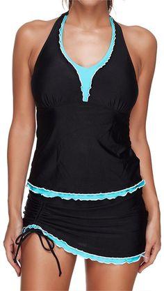 Luvamia Womens High Waisted Swim Skirts with Inner Slip Mini Bikini Bottom Beach Skirt Bodycon