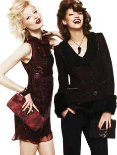 Marvelous Style – Melissa Tammerijn and Samantha Gradoville turn up the glam for Roberto Cavalli's fall 2012 catalogue. The fabulous duo smiles and preens in bold animal prints, ultra-feminine ruffles, leather and furs. An explosion of color ranging from kaleidoscopic florals to jewel toned emerald sets the stage for a lavish outing. Autumn accessories include dangling earrings, crystal embroidered handbags and chic eyewear.