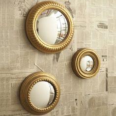 BNIB Retro 50's Set of Three Gold Round Porthole Mirrors