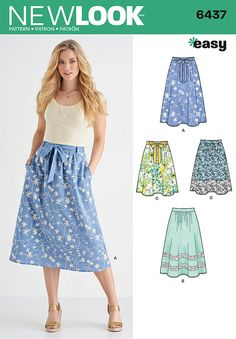 New Look 6437 Sewing Pattern - Misses' Skirt in Two Lengths with Fabric Variations
